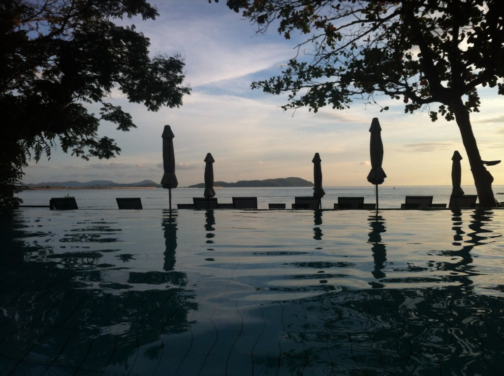 View from the infinity pool right before sunset.