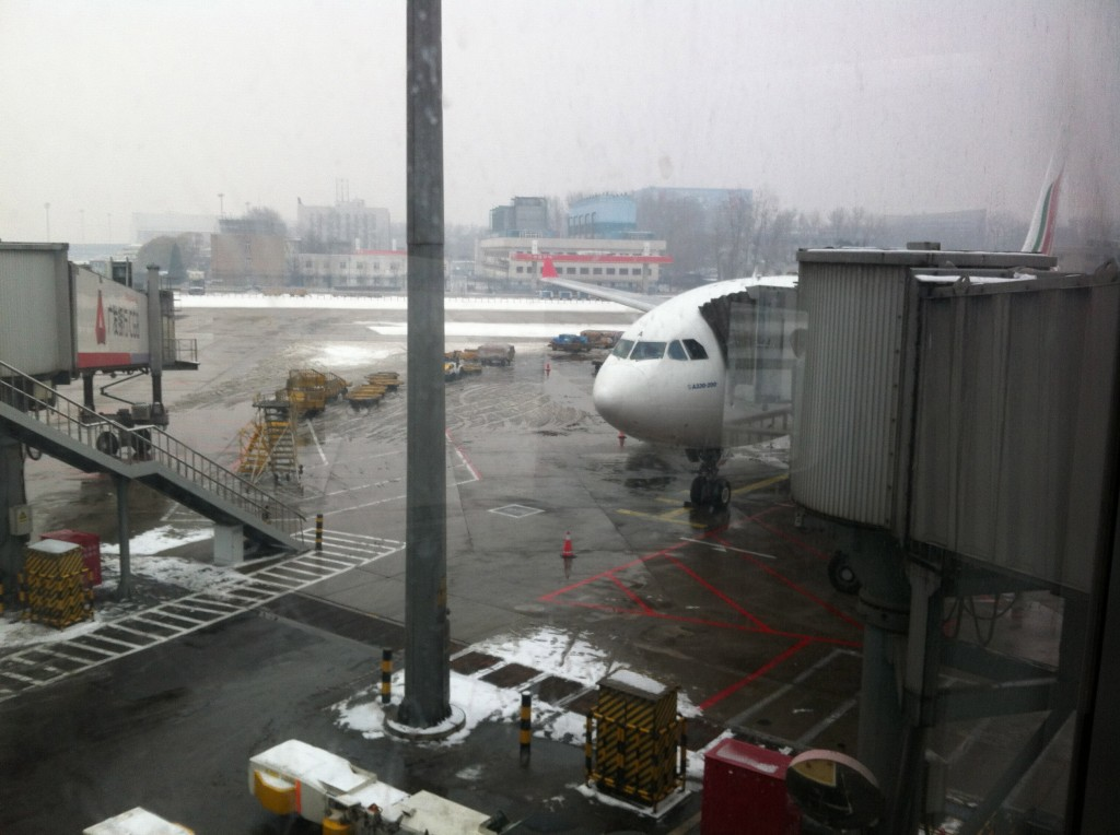 The weather also caused flight cancellations and delays left and right. Fortunately our Sri Lankan flight was only half an hour late as it was leaving from Terminal 2, which was less busy.