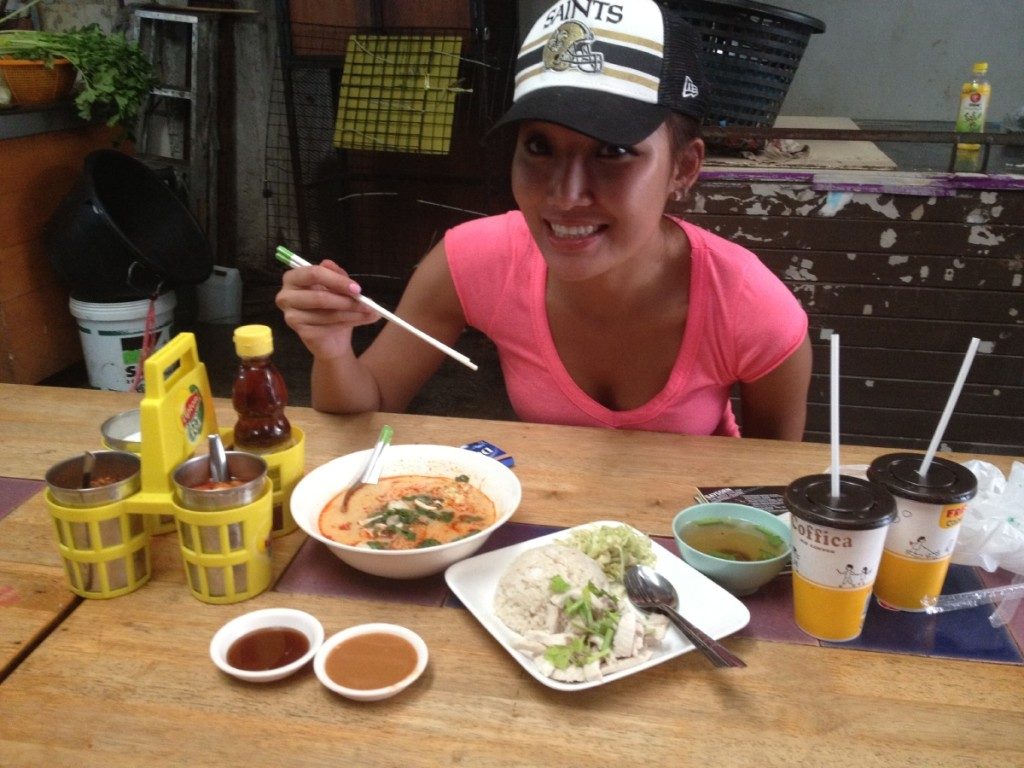 Christina enjoying the lemongrass white coconut soup, Thai chicken rice and iced Thai bubble tea.