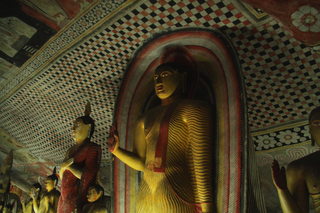 The figures throughout the caves represent Buddha and his life.
