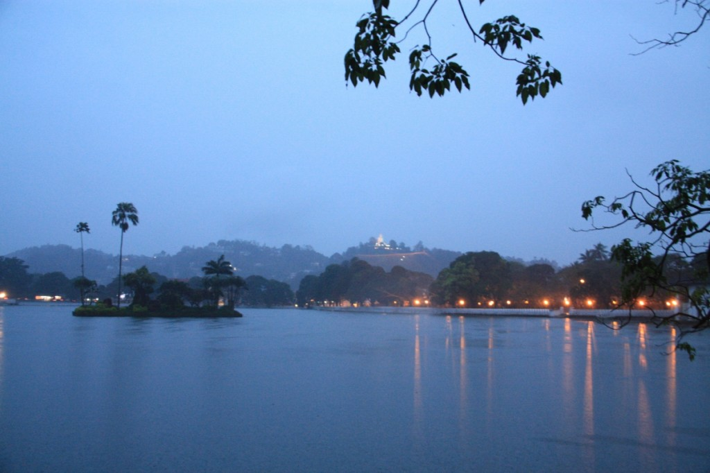 It was raining hard in the quiet town of Kandy.
