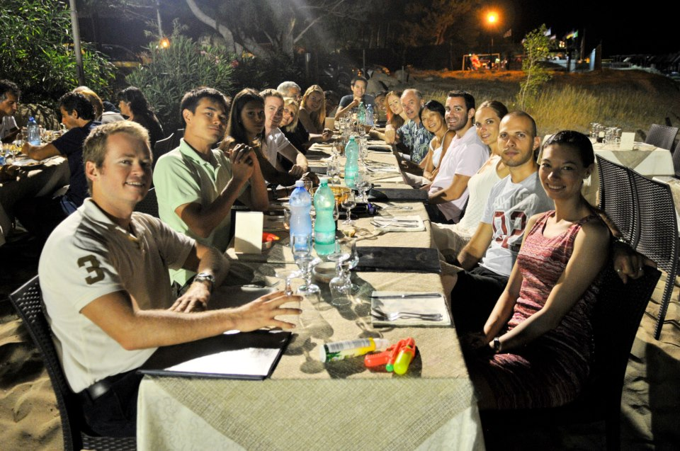 Dinner on the beach with our huge group.