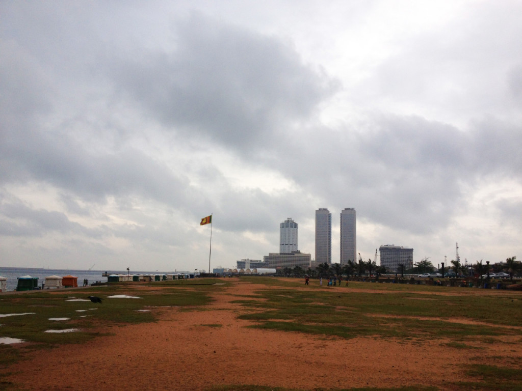Galle Green and World Trade Centre towers in the background, which are the tallest skyscrapers in Sri Lanka finished in 1997.