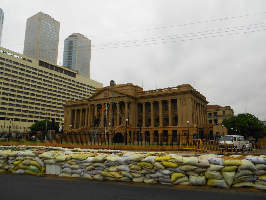 "The <strong>Old Parliament Building</strong> is now the Presidential Secretariat (office of the President of Sri Lanka). The tires on the road are from the ""Colombo Night Races 2012""."