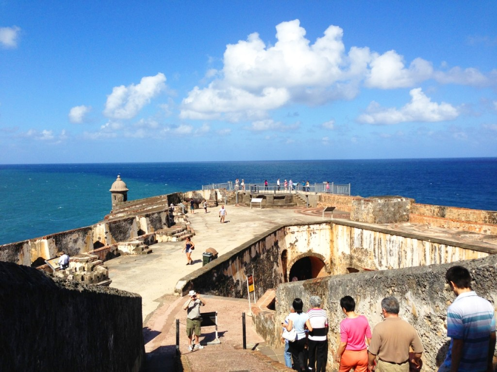 The rampart where you can see Garitas, domed sentry boxes, which have become a symbol of Puerto Rico.
